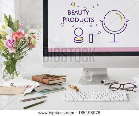 Illustration of beauty cosmetics makeover skincare on computer