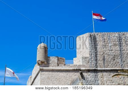 Looking Up At A Corner Of The Dubrovnik City Walls