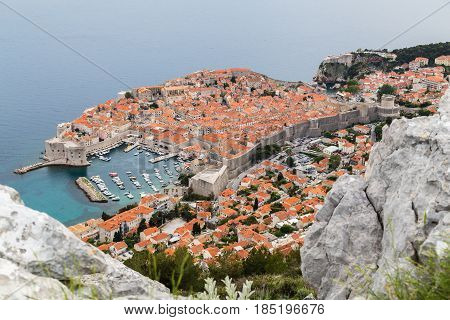 Dubrovnik nestled between the turquoise coloured Adriatic Sea and the mountains of South Dalmatia.