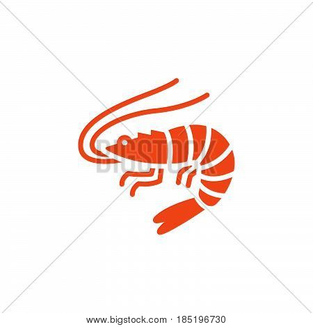 Shrimp Prawn icon vector filled flat sign solid colorful pictogram isolated on white logo illustration