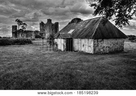 Ruins of Bective abbey in Ireland, B&W photo