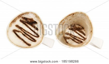 Top view two cups of hot chocolate before and after drinking isolated on white background.