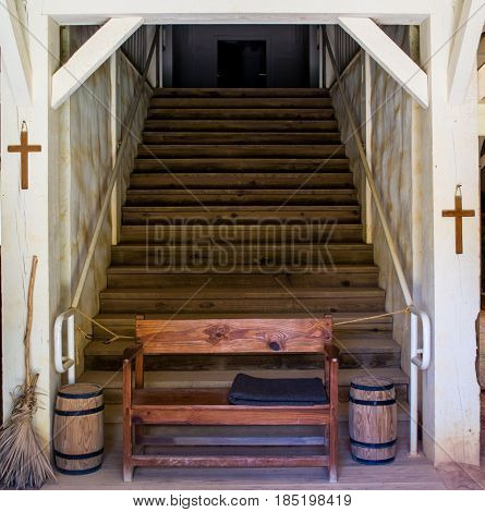 A stairway to heaven in an old mission church.