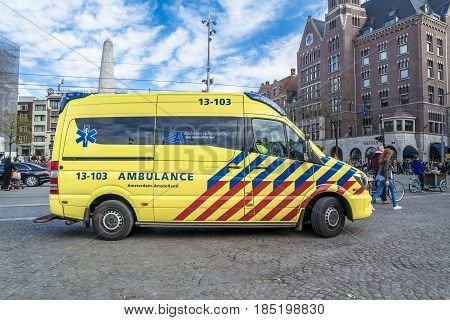 AMSTERDAM , NETHERLANDS - APRIL 31, 2017 : Ambulance and police getting ready for the emergancy situation