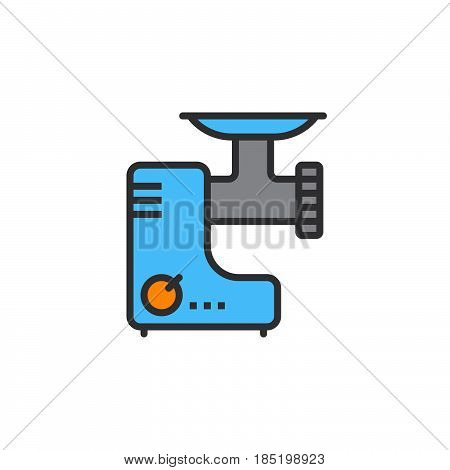 Meat grinder line icon electric mincer filled outline vector sign linear colorful pictogram isolated on white. logo illustration