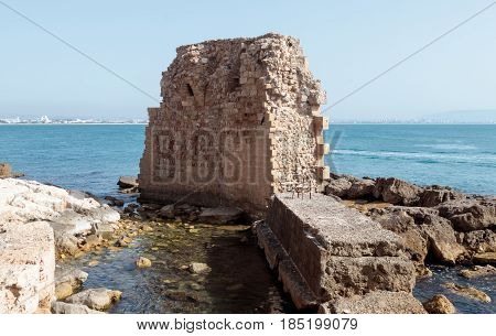 Fragment of remains of the fortress wall in Old Acre Israel