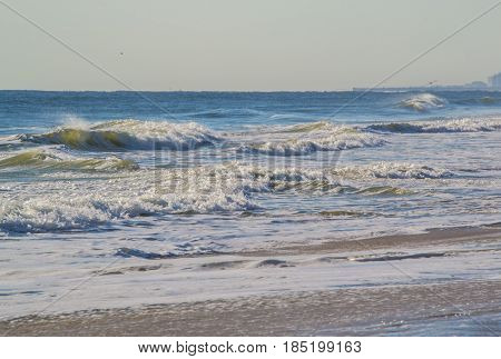 A view of the surf at the beach.