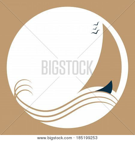 Sailing boat on the waves. Ship with sails logo.