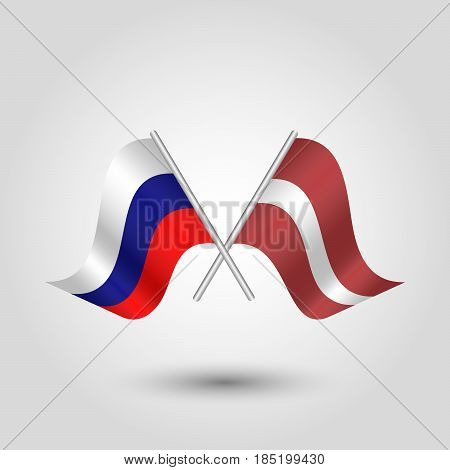 vector two crossed russian and latvian flags on silver sticks - symbol of russia and latvia
