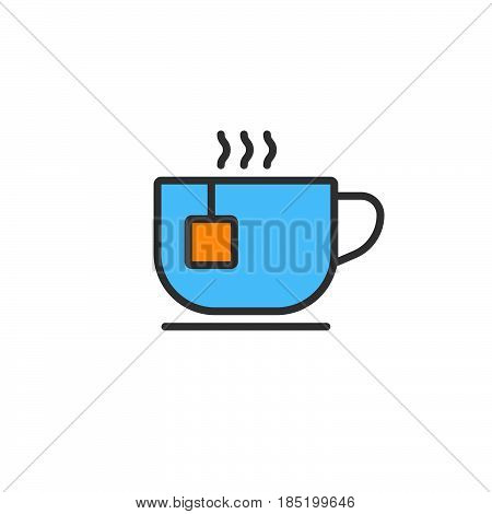 Teacup line icon tea cup filled outline vector sign linear colorful pictogram isolated on white. logo illustration