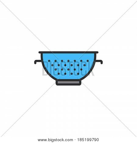 Colander line icon pasta strainer filled outline vector sign linear colorful pictogram isolated on white. logo illustration