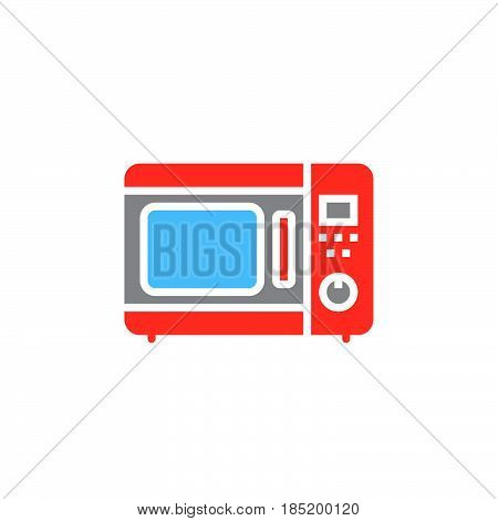 microwave oven icon vector solid flat sign colorful pictogram isolated on white logo illustration