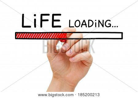 Hand drawing Life loading bar concept with marker on transparent wipe board.