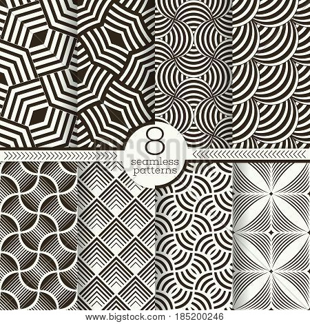 Set of vector seamless patterns. Stylish modern geometric textures. Seamless backgrounds with repetition of geometrical shapes. Rhombus scale corner.