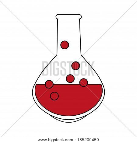 color silhouette image glass circular beaker for laboratory with red liquid vector illustration