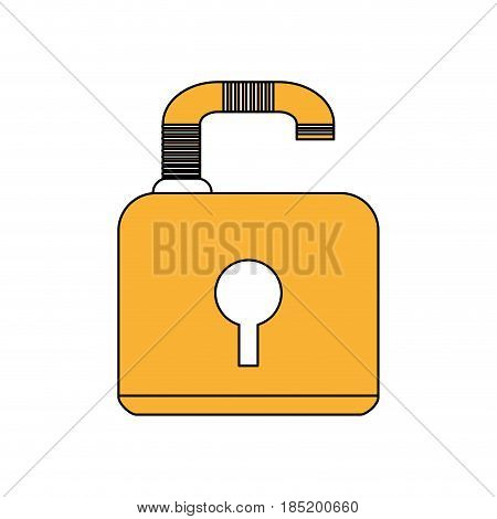 color silhouette image padlock with body and shackle vector illustration