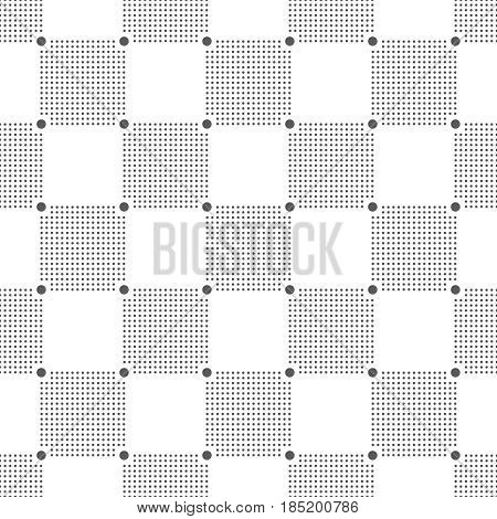 Plaid seamless pattern. Classical tablecloth texture. Checkered fabric background. Regularly repeating geometric tiles with small dots. Vector element of graphical design