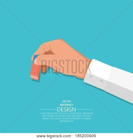 The hand holds an eraser. A hand with an office subject in 3D style on the isolated blue background. Vector illustration. Design element.