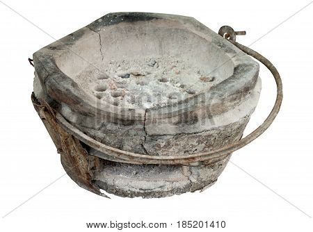 Old charcoal stove with charcoal ignited in Thailand.