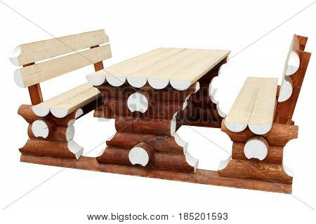 Table and benches isolated on white background.