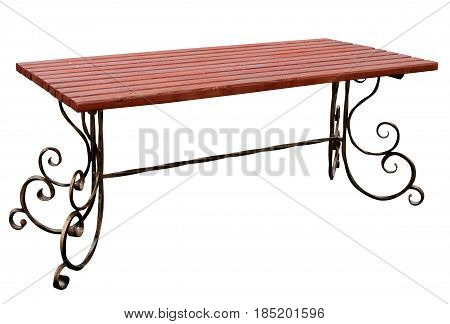 Table with wooden table top isolated on white background.