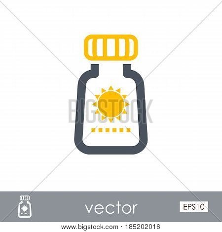 Sunscreen outline vector icon. Beach. Summer. Summertime. Vacation eps 10