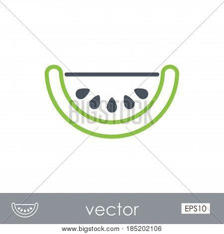 Watermelon Slice outline vector icon. Beach. Summer. Summertime. Vacation eps 10