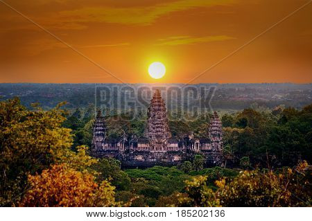 Angkor Wat Temple at sunset Siem reap in Cambodia.