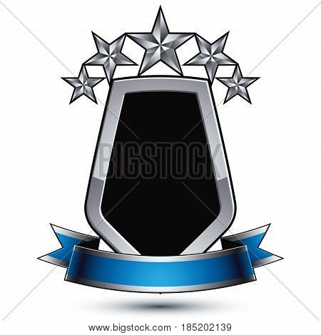 Black heraldic vector security element with gray outline and five pentagonal silver stars silvery 3d royal geometric blazon with blue curvy band classic blazon isolated on white background.
