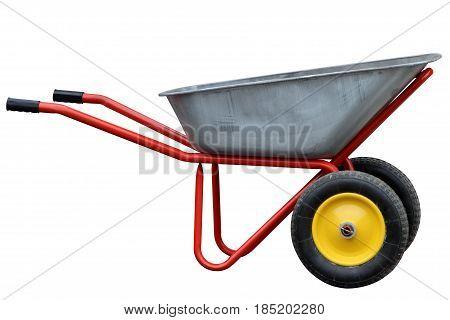 Modern Garden hand truck with yellow wheels.