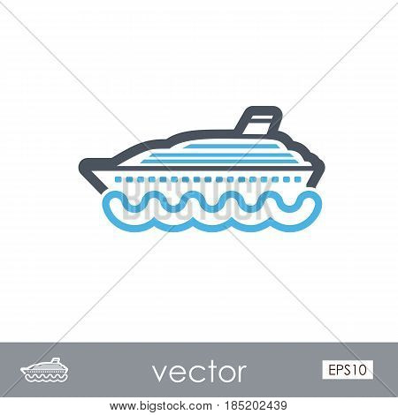 Cruise transatlantic liner outline vector icon. Beach. Summer. Summertime. Vacation eps 10