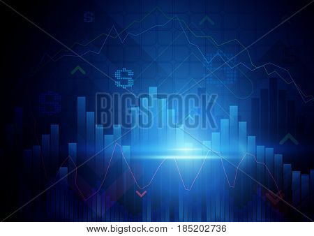 Blue abstract graph and chart Stock Market concept background