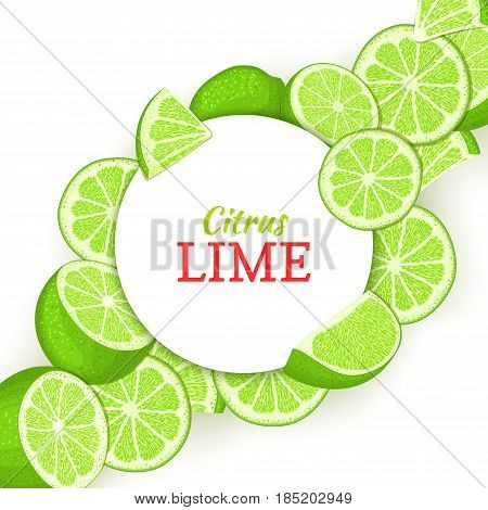 Round white frame on citrus lime diagonal composition background Vector card illustration Tropical green lemon fruit frame peeled piece of half slice for design of food packaging juice breakfast detox.