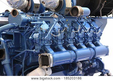 Diesel engine big power painted in blue color