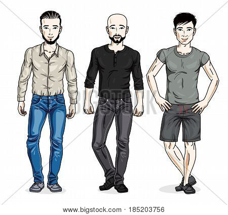 Happy Men Posing Wearing Casual Clothes. Vector People Illustrations Set.