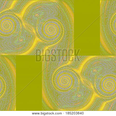 Abstract geometric background. Spirals pattern in yellow, orange, light green and purple shades and rectangles light green.