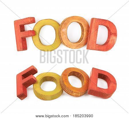 Word Food made of colored with paint wooden letters, composition isolated over the white background, set of two different foreshortenings