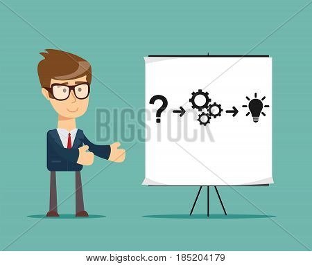 Thinking. Businessman solving a problem. Stock vector illustration for poster, greeting card, website, ad, business presentation, advertisement design