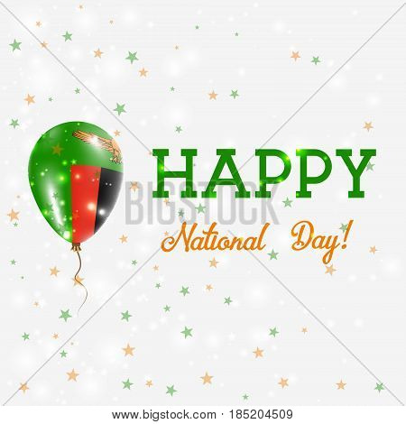 Zambia National Day Patriotic Poster. Flying Rubber Balloon In Colors Of The Zambian Flag. Zambia Na