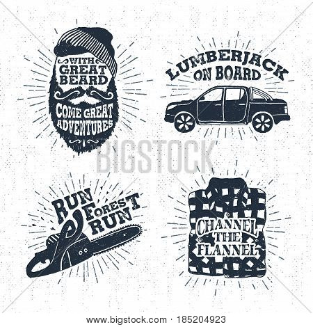 Hand drawn vintage badges set with textured bearded face pickup truck chainsaw and plaid shirt vector illustrations and inspirational lettering.