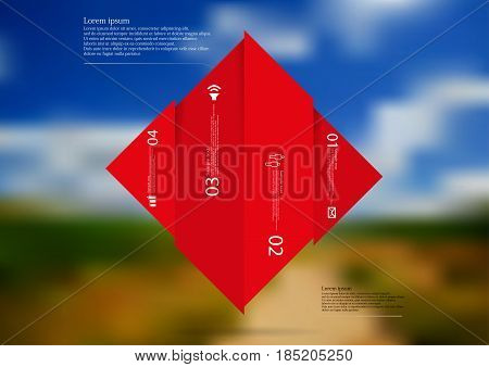 Illustration infographic template with motif of rhombus vertically divided to four shifted red sections with simple sign number and sample text. Blurred photo is used as background.