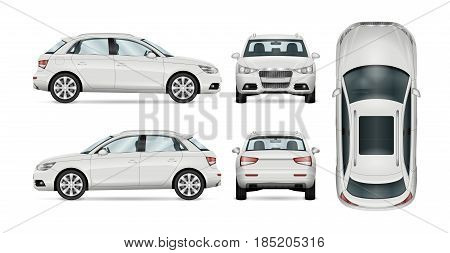 SUV car set on white background template for branding and advertising. All layers and groups well organized for easy editing and recolor. View from side; front; back; top.