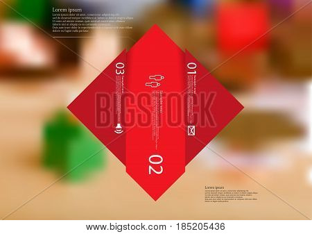 Illustration infographic template with motif of rhombus vertically divided to three shifted red sections with simple sign number and sample text. Blurred photo is used as background.
