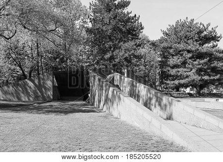 Monumento Alla Resistenza Europea (european Resistance War Memorial) In Como In Black And White