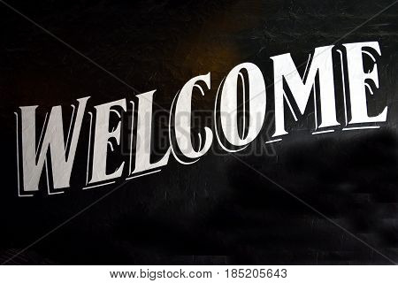 Welcome sign background at store front area