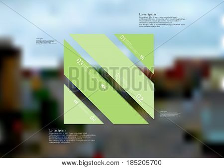 Illustration infographic template with motif of rectangle askew divided to four standalone green sections with simple sign number and sample text. Blurred photo is used as background.