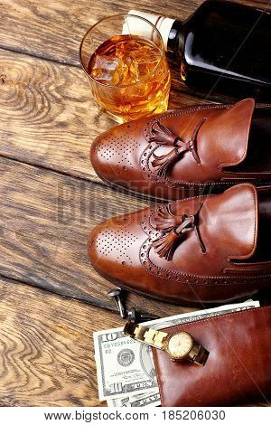 Brown Brogues, And Men's Accessroies Cufflinks,golden Watch, Tobaco Pipe , Ginger,bottle And Glas Of