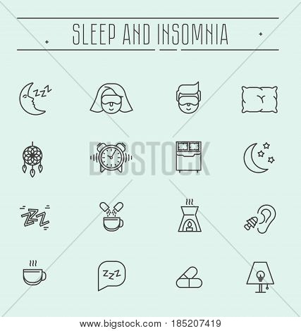 Set of thin line vector icons with symbols of sleep problems and insomnia. Healthcare logo vector illustration.  Treatments and pills, sleeping person with mask, hot drink.