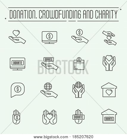Charity and donation modern vector line design icons set. Safe planet, financial, accommodation help. Set conceptual icons life insurance and property.