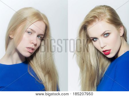 sexy woman collage compare pretty girl before and after fashionable makeup has long blond hair and red lips in blue shirt on white background
